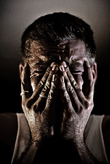 New Hobby - Headaches (Poppa-D) Tags: arizona portrait selfportrait darren self pain artwork eyes hands nikon d pad az stevenson d200 vivitar poppa headache striplights wince striplight poppad strobist