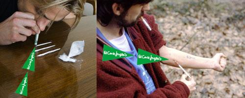 Dos hombres drogadictos consumiendo sustancias junto a logotipos de El Corte Inglés