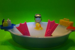 Bathtime for Gollum (8 Skeins of Danger) Tags: pink blue yellow radio vintage fun toy book bath dish action box goggles lord rubber boom pixie rings precious ducky figure hobbit flippers pyrex smeagol spash splish the grren gollom of 8skeinsofdanger