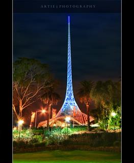 "city tower architecture night photoshop canon lights cs2 artistic australia melbourne wideangle victoria structure handheld 1020mm artscentre artie ""night sigmalens shot"" 1xp nonhdr 400d rebelxti raw"" ""single"