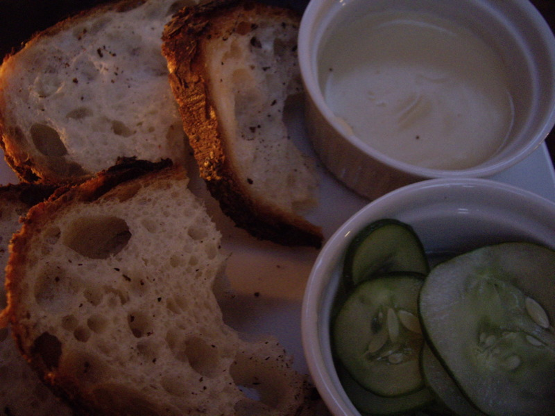 Bread with warm butterbean dip, pickled cucumbers at No. 7