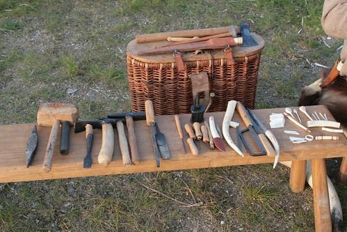 Das nötige Werkzeug von einem Knochenschnitzer / Kammmacher - Museumsfreifläche Wikinger Museum Haithabu WHH 27-09-2008