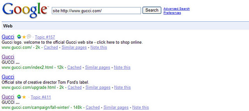 gucci flash pages in google