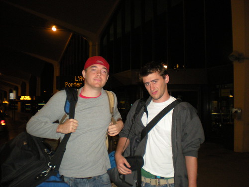 Sean Blanda (right) and I on Oct. 1, leaving from Newark Airport to begin our trip in London.