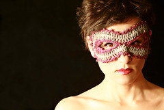 Masquerade - A free hairpin lace crochet pattern (stitchdiva) Tags: halloween costume mask crochet masquerade stitchdivastudios hairpinlace jenniferhansen