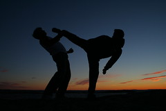 Mawashi geri in the sunset (kristianmoen) Tags: blue sunset sun colors norway night foot evening action kick martialarts geri fredrikstad top20sports jujutsu mawashi top20martialshots