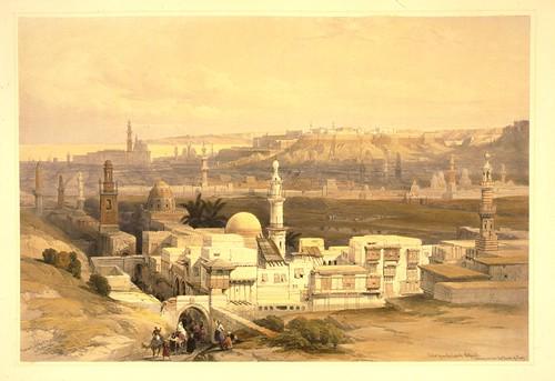 018- El Cairo desde la puerta de Citizenib mirando hacia el desierto de Suez- David Roberts- 1846-1849
