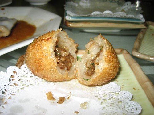 Delicious puffy, crunchy, chewy, savory meat balls - dim sum at its finest.