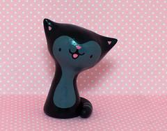 Midnight Kitteh (magicbeanbuyer) Tags: black cat grey miniature kitten handmade gray kitty polymerclay clay kitteh midnight handpainted kawaii figure caketopper collectible figurine keepsake polymer jamieferraioli magicbeanbuyer