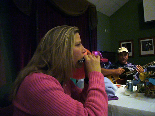 Terri plays Harmonica