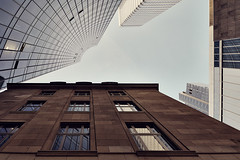 Old vs. New (Philipp Klinger Photography) Tags: new old blue windows sky window lines metal architecture skyscraper reflections germany deutschland bravo europa europe hessen frankfurt bank highrise desaturated curve philipp glas hochhaus hesse dresdner wolkenkratzer klinger mywinners dfpro26004