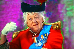 Movie Star Margaret Rutherford TV Shot-The PhotoShop Painting (Walker Dukes) Tags: blue red england woman white black beautiful hat hair gold uniform unitedkingdom feathers wave velvet sash jacket gloves mature actress actor fenwick medals brocade duchess borehamwood noblesseoblige epaulettes