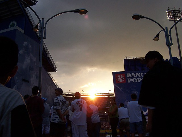 Sunset beyond the ballpark