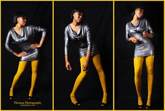 The Evolution of Glamor (thehalfshow.com) Tags: red beauty fashion yellow purple evolution tights smokey lipstick eyeshadow glamor shaquawna
