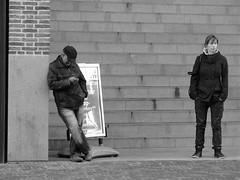 DISTANCE (Akbar Simonse) Tags: street people urban bw holland netherlands stairs zwartwit candid streetphotography cellphone denhaag thehague streetshot streps togetheryetapart 200000000stagelovers akbarsimonse