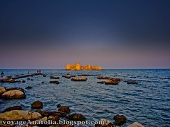 Fortress of Corycus at Med Sunset (voyageAnatolia.blogspot.com) Tags: voyageanatolia corycos korykos mersin corycus fortress castle sea mediterranean rocks blue sky red orange yellow sunset kizkalesi ghorgos med island ancient history archaeology archeology travel turkey trip summer vacation vosplusbellesphotos turkiye trkiye fotogezi  turska  turquia tyrkiet trkei turqua turquie turchia     silkroad photography photo