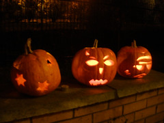 J & E had carved pumpkins