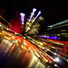 Night's Light and Bokeh (veronique robin) Tags: longexposure light oz sydney vivid australia circularquay lightshow motionlight citylight zoomexposure zoomburst boket vividfestival