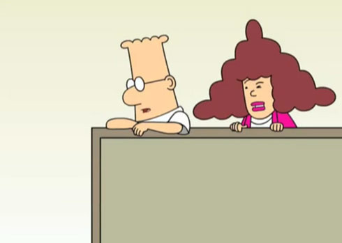 Dilbert cartoon where Dilbert, a white guy with glasses, stands in a cubicle with a brown-haired woman behind him