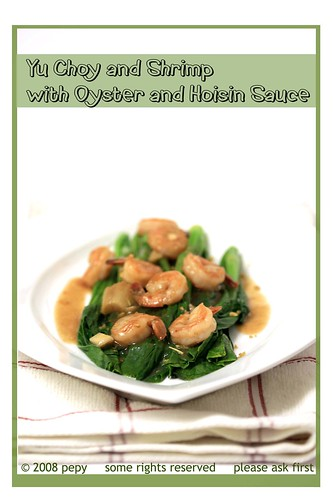 Yu Choy and Shrimp with Oyster and Hoisin Sauce