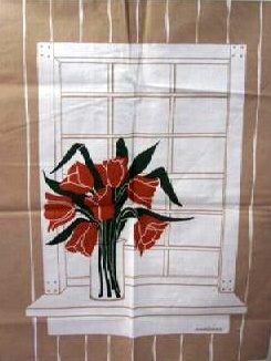 Marushka - tulips in window (red and tan)