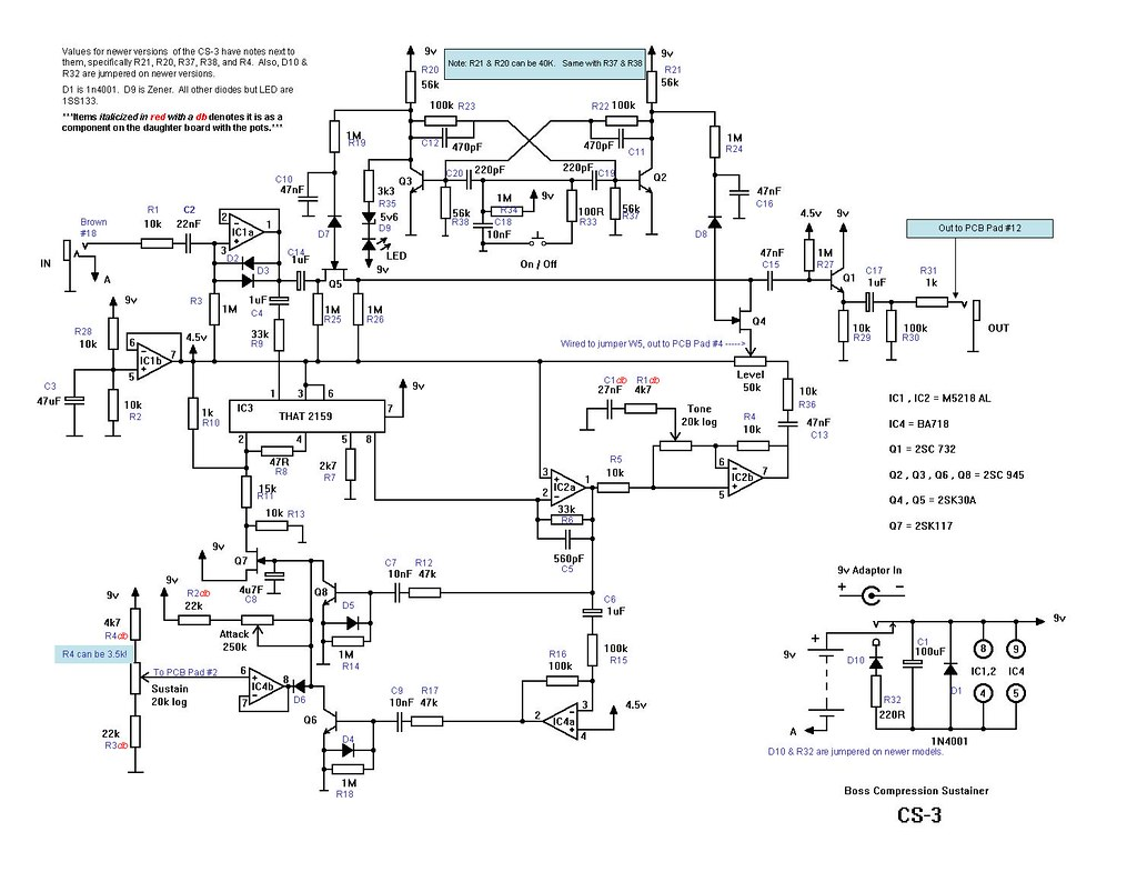 Boss CS-3 Schematic Redrawn Boss Cs Schematic on boss cs-2 nashville, boss bf-3, boss oc-3,