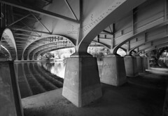 Underneath The Arches (Ian Hayhurst) Tags: bridge reflection water thames river concrete graffiti mono motorway steel tag under engineering arches structure symmetry m4 bray omc dorneyreach canonef1635mmf28liiusm my3favs