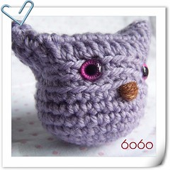 a little cutie, I made it but don't know what it is.. may be a baby bird? baby owl? baby something? (6060eyes) Tags: baby cute bird diy crochet lavender cutie owl amigurumi