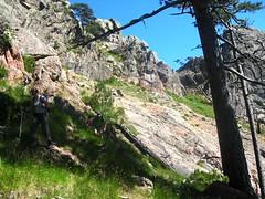 Après Bocca Manzaghja : recherche d'une voie de descente vers la forêt de Velacu