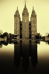 LDS Temple (swilton) Tags: windows reflection pool sepia temple utah unitedstates spires saltlakecity duotone mormon templesquare lds sigma1020mm nikond40x photofaceoffwinner photofaceoffplatinum pfogold pfoplatinum jan09pfobrackets