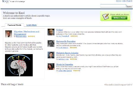 Knol homepage