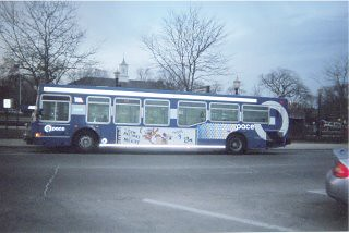 Blue Pace bus at the La Grange Road Metra commuter rail station. La Grange Illinois. March 2006.