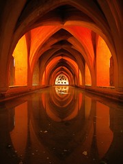 Receptacle of Tears (Caneles) Tags: reflection water sevilla spain arches palace seville arab 25 cellar soe cistern catacombe realesalczares golddragon mywinners arabarchitecture losbaosdedoamaradepadilla bathsofladymaradepadilla lifebeautiful diamondclassphotographer flickrdiamond goldstaraward flickrlovers creattivit realesalczarespalace