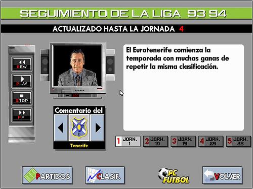 Michael Robinson en un simulacro de vídeo digital en PC Fútbol 2.0