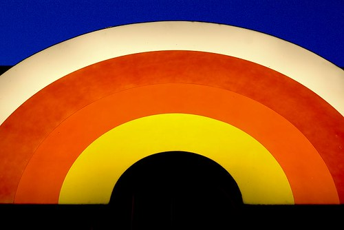 Lighted rainbow sign at Grocery Outlet in Stayton Oregon