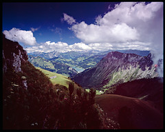 Swiss Mountains (mattneighbour) Tags: cloud mountains alps film switzerland flora fuji 4x5 velvia100 90mm largeformat 5x4 rodenstock shenhao grandagon sekonicl558 caltar90mm caltariin168mc