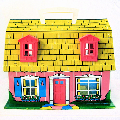 Vintage Pink Tin Dollhouse