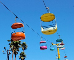 Gondolas (cwgoodroe) Tags: california carnival blue wedding summer santacruz sun color beach water sand surf candy games boardwalk rollercoaster