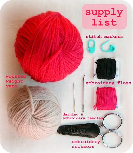 Supply list for Sleepy Sarah