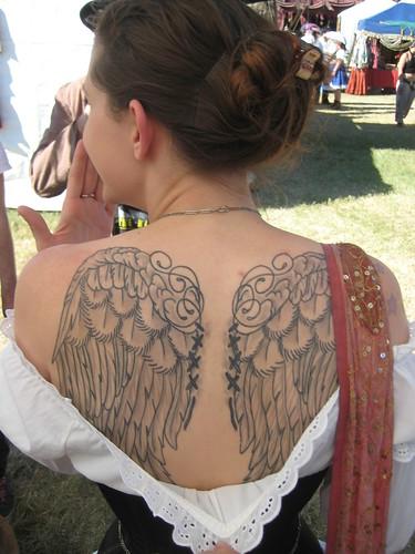 Wings Art Tattoo: Back Body Girl