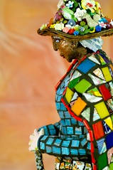 profile birdie (morninglori281965) Tags: old flowers sculpture woman hat birdie beads quilt grandmother mosaic glassmosaicsculpture