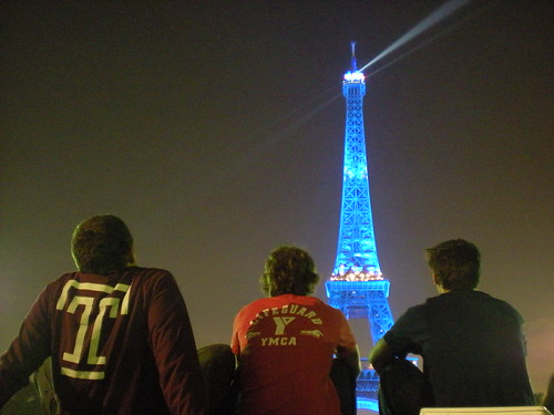 Me, Seans brother Brian, and Sean watch a bright blue Eiffel Tower sparkle, Oct. 13, 2008.