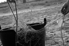 Il pescatore... (*LazzarPhoto*) Tags: bw white black canon blackwhite barca mare mani bn pesci pesca bianco nero bianconero pescatore rete eos400d lazzar lazzarphoto nazariocruciano