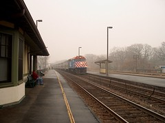 Westbound Metra express commuter train on a foggy morning. River Forest Illinois. November 2006.