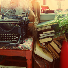(yyellowbird) Tags: typewriter square fan bedroom chair apartment objects books things