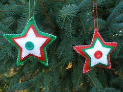 2 Christmas Star Ornaments or Gift Embellishments (Pictures by Ann) Tags: christmas winter red white color green home wool colors three natural bright handmade embroidery sewing decoration vivid sew felt ornament gift embellishment tricolor present stocking decor embroidered homedecor sewn threecolor madebyhand gifttag allnatural madeintheus stuffer madeintheusa handembroidered womanmade madebyawoman harvestmoonbyhand embroideredbyhand