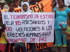 [Colombians protest state terrorism]
