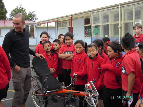 Students at Takaro School in Palmerston North, New Zealand try out the recumbent