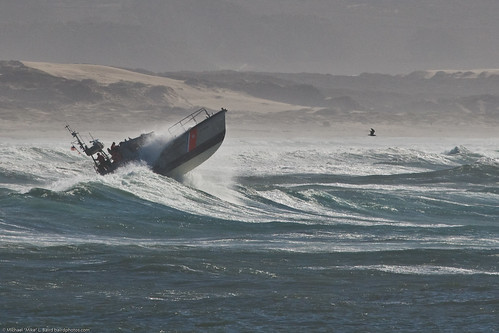 2 of 3 Coast Guard 47' Motor Lifeboat performs storm exercises in wild surf at Morro Bay von mikebaird.