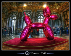 Balloon dog (Jeff Koons) Versailles :: Fisheye :: HDR (Erroba) Tags: dog paris france photoshop canon rebel balloon sigma fisheye chrome versailles tips remote erlend hdr jeffkoons cs3 10mm 3xp photomatix tonemapped tonemapping xti 400d erroba robaye erlendrobaye